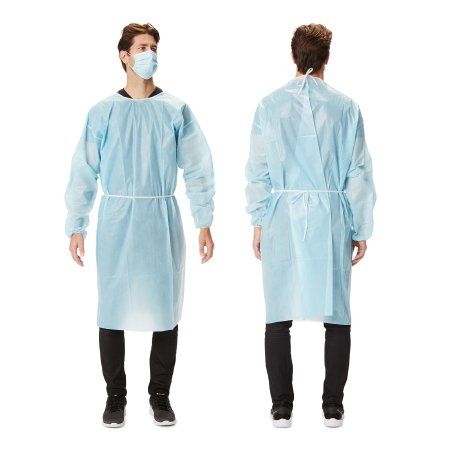 Protective Procedure Gown Large Blue NonSterile Disposable Product Image