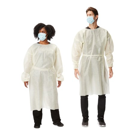 Protective Procedure Gown Large Yellow NonSterile AAMI Level 2 Disposable Product Image