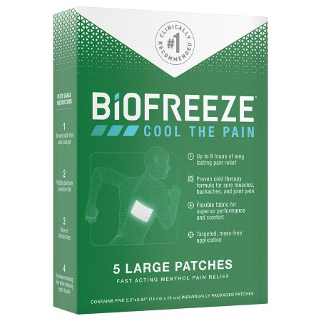 Topical Pain Relief Biofreeze® 5% Strength Menthol Patch 5 per Box Product Image