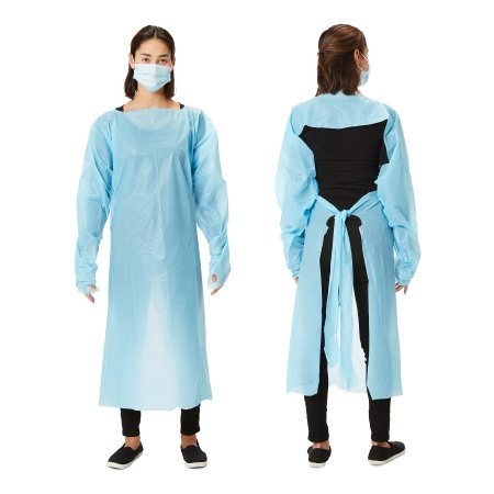 Over the Head Protective Procedure Gown One Size Fits Most Blue NonSterile Disposable Product Image
