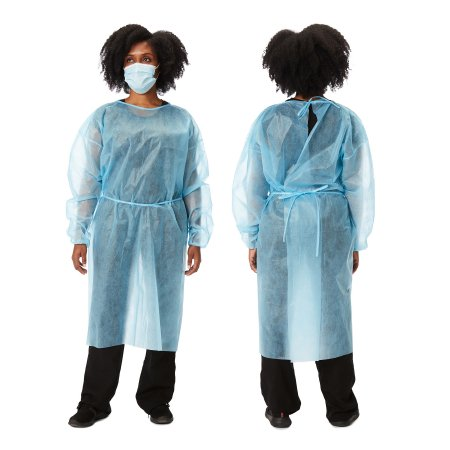 Protective Procedure Gown One Size Fits Most Blue NonSterile Disposable Product Image