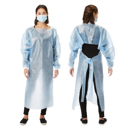 Picture of Over-the-Head Protective Procedure Gown Cypress One Size Fits Most Blue NonSterile Disposable, 10 per Bag