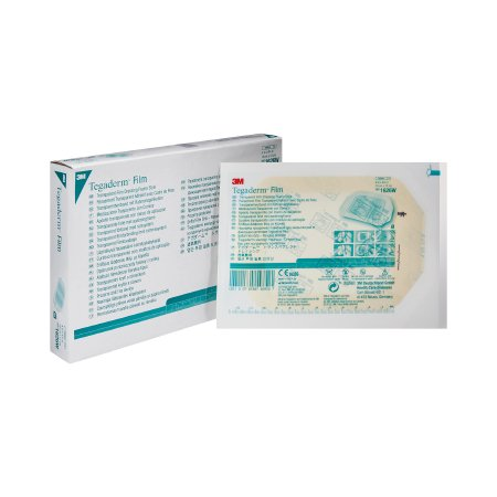 Transparent Film Dressing 3M™ Tegaderm™ Rectangle 4 X 4-3/4 Inch Frame Style Delivery With Label Sterile Product Image