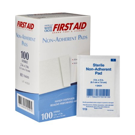 Non-Adherent Dressing American White Cross First Aid® Cotton 2 X 3 Inch Sterile Product Image