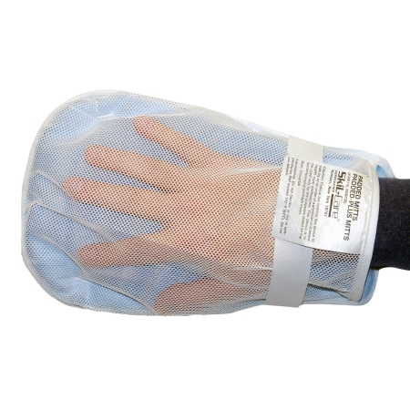 SkiL-Care™ Hand Control Mitt, 11 x 6 x 3/4 in., White/Blue