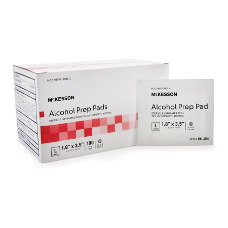Alcohol Prep Pad McKesson 70% Strength Isopropyl Alcohol Individual Packet Large Sterile Product Image