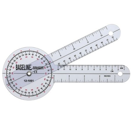 Baseline® 360° Head Plastic Goniometer, 8 Inch Arms