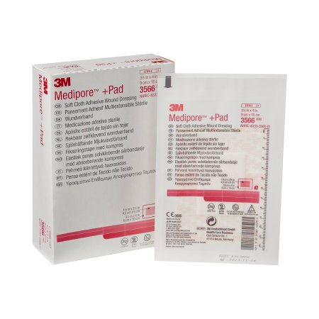 Adhesive Dressing 3M™ Medipore™ 3-1/2 X 4 Inch Soft Cloth Rectangle White Sterile Product Image