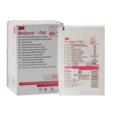 Adhesive Dressing 3M™ Medipore™ 2 X 2-3/4 Inch Soft Cloth Rectangle White Sterile Product Image