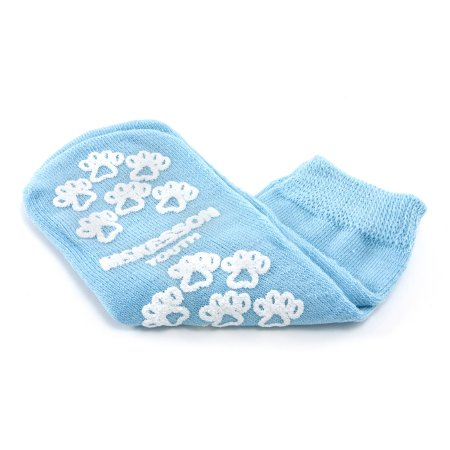 Slipper Socks McKesson Terries™ Youth Light Blue Above the Ankle Product Image