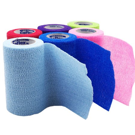 Cohesive Bandage CoFlex® NL 4 Inch X 5 Yard 12 lbs. Tensile Strength Self-adherent Closure Neon Pink / Blue / Purple / Light Blue / Neon Green / Red NonSterile Product Image
