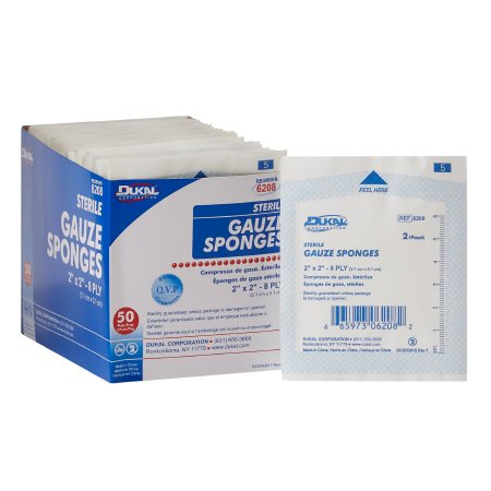 Gauze Sponge Dukal™ Cotton 8-Ply 2 X 2 Inch Square Sterile Product Image