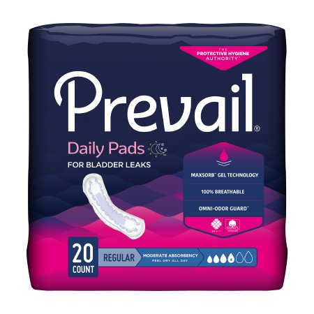 Bladder Control Pad Prevail® Daily Pads 9-1/4 Inch Length Moderate Absorbency Polymer Core One Size Fits Most Adult Female Disposable Product Image