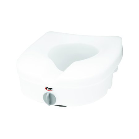 Raised Toilet Seat E-Z Lock™ 5 Inch Height White 300 lbs. Weight Capacity Product Image