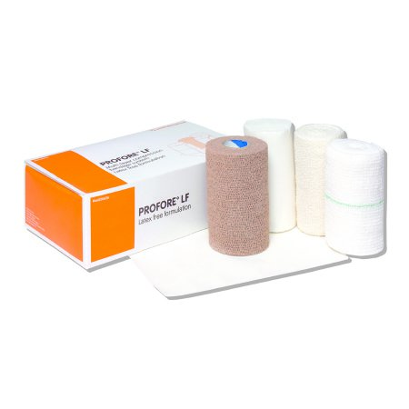 4 Layer Compression Bandage System Profore LF 5-1/2 X 8 Inch / 4 Inch X 4 Yard / 4 Inch X 3 Yard / 4 Inch X 2-4/5 Yard Standard Compression Self-adherent / Tape Closure Tan / White NonSterile Product Image