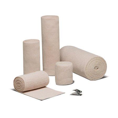 Elastic Bandage REB® LF 4 Inch X 5 Yard Standard Compression Clip Detached Closure Tan NonSterile Product Image
