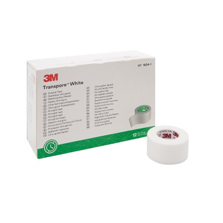 Medical Tape 3M™ Transpore™ White Water Resistant Plastic 1 Inch X 10 Yard White NonSterile Product Image