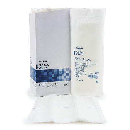 Abdominal Pad McKesson Nonwoven Cellulose 7-1/2 X 8 Inch Rectangle Sterile Product Image