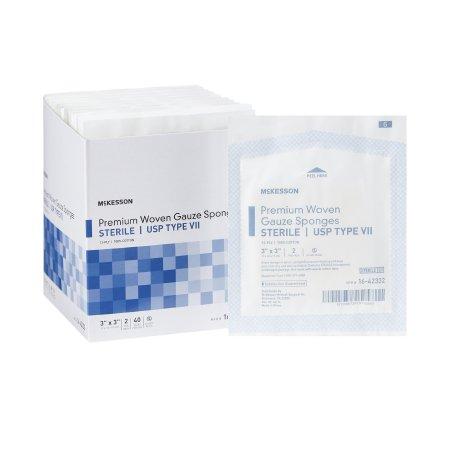 USP Type VII Gauze Sponge McKesson Cotton 12-Ply 3 X 3 Inch Square Sterile Product Image