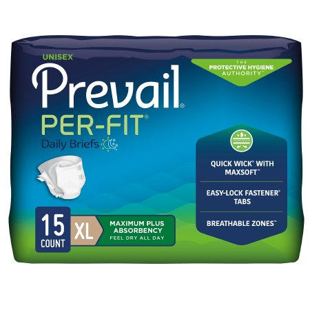 Image of Unisex Adult Incontinence Brief Prevail® Per-Fit® X-Large Disposable Heavy Absorbency