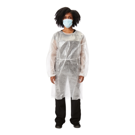 Protective Procedure Gown McKesson One Size Fits Most White NonSterile Disposable Product Image