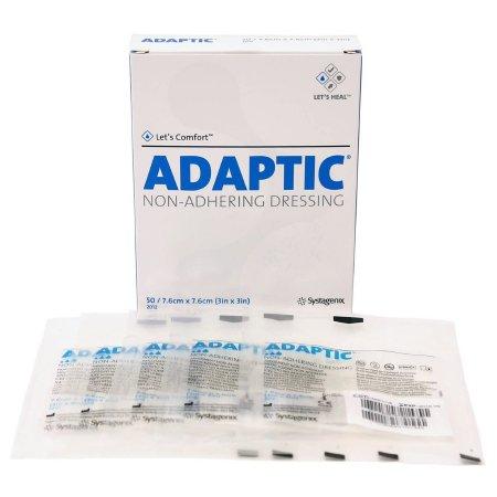 Impregnated Non-Adherent Dressing Adaptic™ 3 X 3 Inch Cellulose Acetate Mesh Petrolatum Emulsion Sterile Product Image