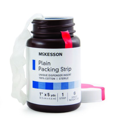 Wound Packing Strip McKesson Plain Cotton Non-impregnated Large 1 Inch X 5 Yard 1 Count Sterile Product Image