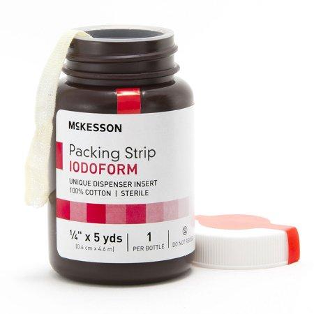McKesson Sterile Cotton Iodoform Wound Packing Strip, 1/4 Inch x 5 Yard