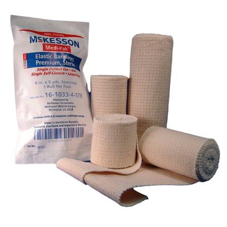 Elastic Bandage McKesson 4 Inch X 5 Yard Standard Compression Hook and Loop Closure Tan Sterile Product Image