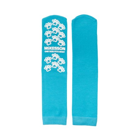 Slipper Socks McKesson Paw Prints® One Size Fits Most Teal Above the Ankle Product Image