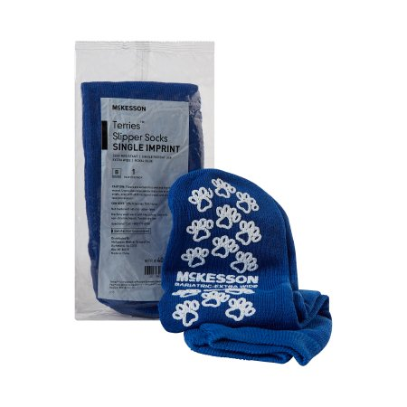 Slipper Socks McKesson Terries™ Bariatric / Extra Wide Royal Blue Above the Ankle Product Image