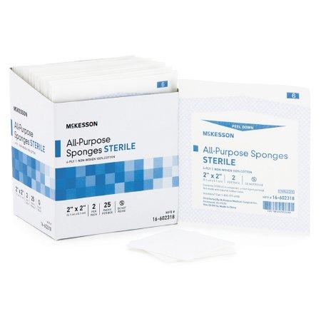 Nonwoven Sponge McKesson Cotton 4-Ply 2 X 2 Inch Square Sterile Product Image