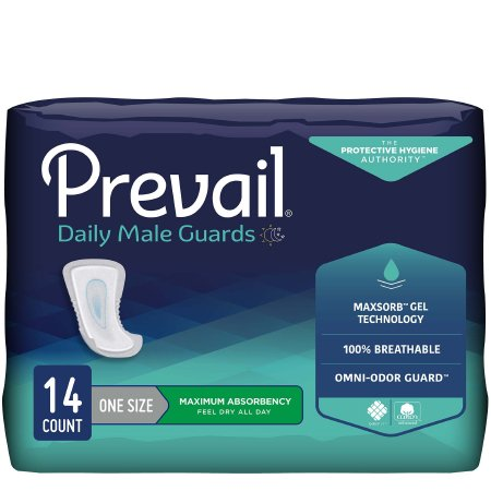 Bladder Control Pad Prevail® Daily Male Guards 12-1/2 Inch Length Heavy Absorbency Polymer Core One Size Fits Most Adult Male Disposable Product Image