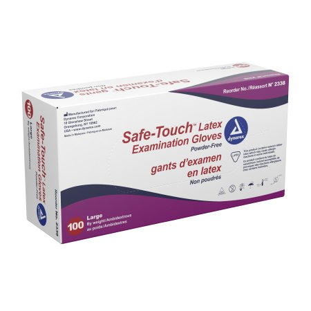 Exam Glove Safe-Touch™ Large NonSterile Latex Standard Cuff Length Fully Textured Ivory Not Chemo Approved Product Image