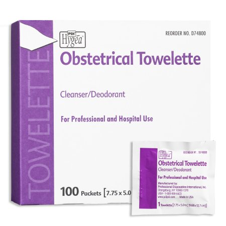 Obstetrical Wipe Hygea® Individual Packet BZK (Benzalkonium Chloride) / Ethyl Alcohol Scented 100 Count Product Image
