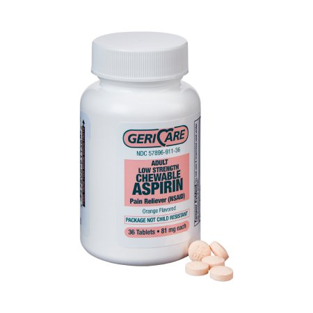 Pain Relief Geri-Care® 81 mg Strength Aspirin Chewable Tablet 36 per Bottle Product Image