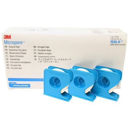 Medical Tape with Dispenser 3M™ Micropore™ Skin Friendly Paper 1/2 Inch X 10 Yard White NonSterile Product Image