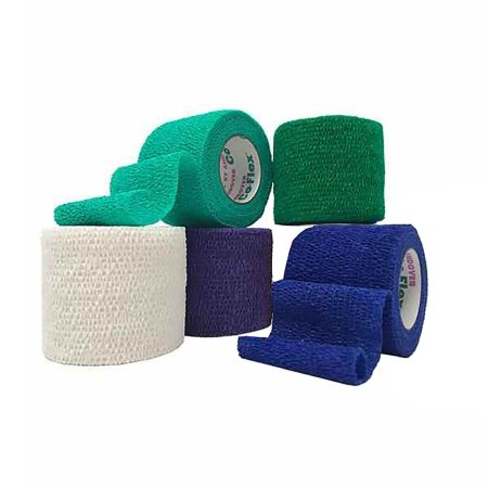 Cohesive Bandage CoFlex® NL 2 Inch X 5 Yard 12 lbs. Tensile Strength Self-adherent Closure Teal / Blue / White / Purple / Green NonSterile Product Image