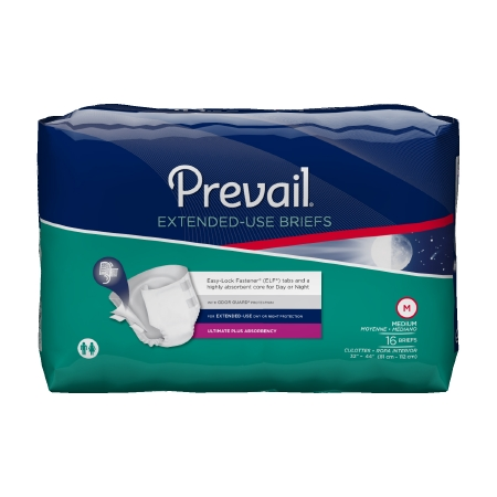 Adult ontinent Brief Prevail� Extended Use Tab Closure Medium Disposable Heav