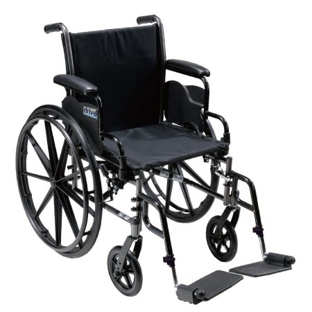 Lightweight Wheelchair drive™ Cruiser III Dual Axle Full Length Arm Flip Back / Removable Padded Arm Style Composite Mag Wheel Black Upholstery 18 Inch Seat Width 300 lbs. Weight Capacity Product Image