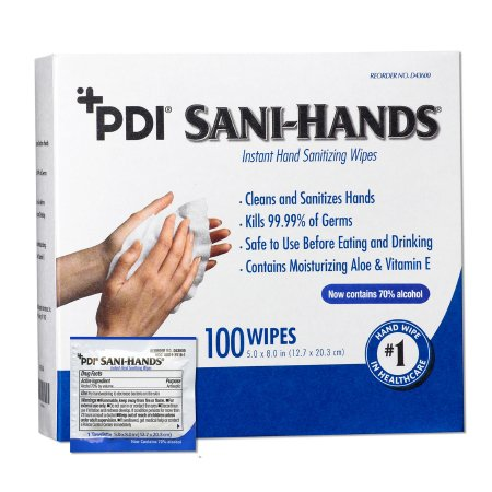 Hand Sanitizing Wipe Sani-Hands® 100 Count Ethyl Alcohol Wipe Individual Packet Product Image