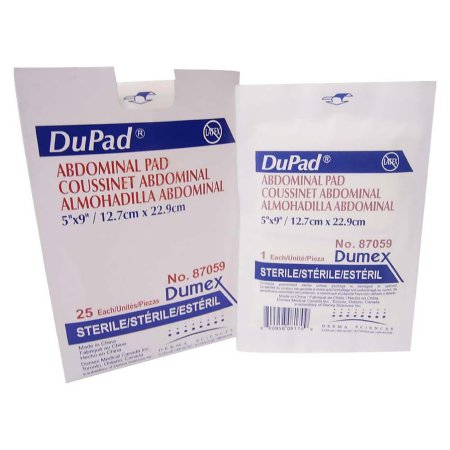 Abdominal Pad DuPad® Cellulose 1-Ply 5 X 9 Inch Rectangle Sterile Product Image