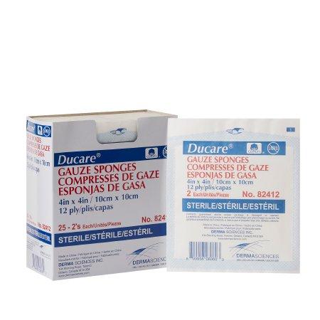 Gauze Sponge Ducare Cotton 12-Ply 4 X 4 Inch Square Sterile Product Image