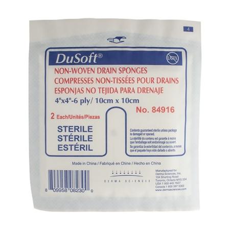 I.V. / Drain Split Dressing DuSoft Poly / Rayon Blend 4 X 4 Inch Square Sterile Product Image