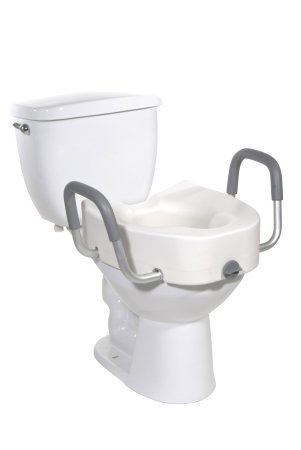 Elongated Raised Toilet Seat with Arms drive™ 4-1/2 Inch Height White 300 lbs. Weight Capacity Product Image