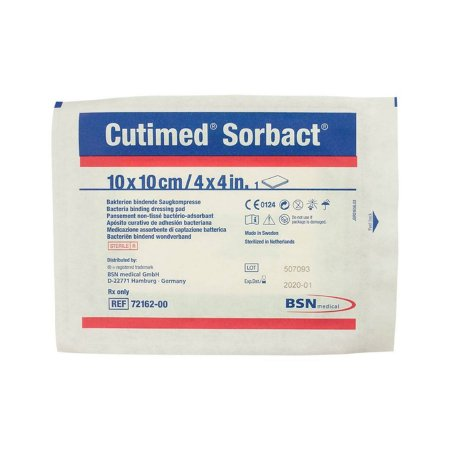 Antimicrobial Dressing Cutimed® Sorbact® 4 X 4 Inch 40 Count Pad Sterile Product Image