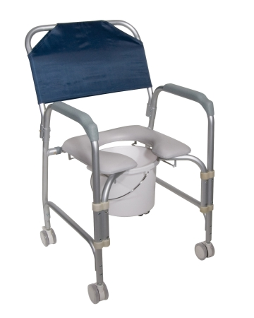 drive™ Aluminum Shower Chair and Commode with Casters