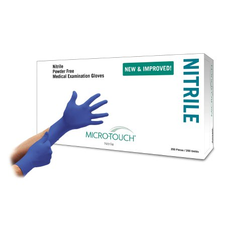 Exam Glove Micro-Touch® Nitrile X-Small NonSterile Nitrile Standard Cuff Length Textured Fingertips Blue Chemo Tested Product Image
