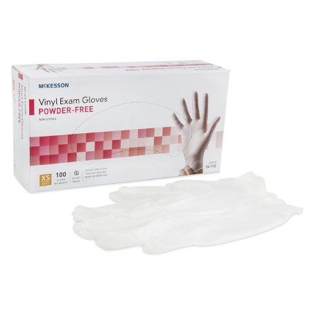 Exam Glove McKesson X-Small NonSterile Vinyl Standard Cuff Length Smooth Clear Not Chemo Approved Product Image