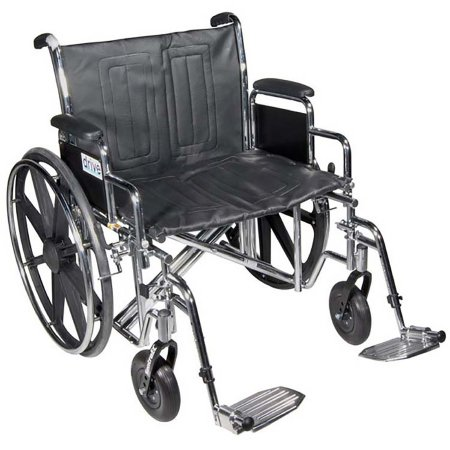 Bariatric Wheelchair drive™ Sentra EC Heavy Duty Dual Axle Full Length Arm Removable Padded Arm Style Composite Mag Wheel Black Upholstery 22 Inch Seat Width 450 lbs. Weight Capacity Product Image